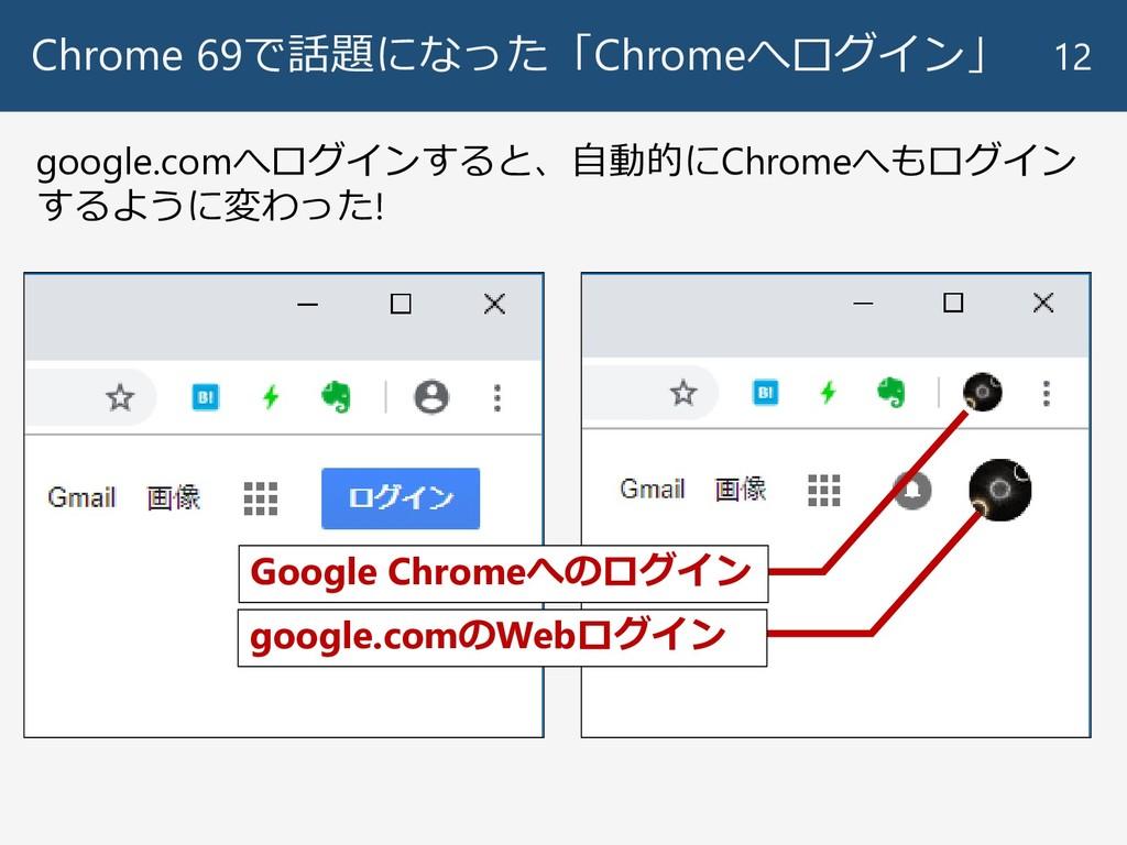 Chrome 69で話題になった「Chromeへログイン」 12 Google Chromeへ...