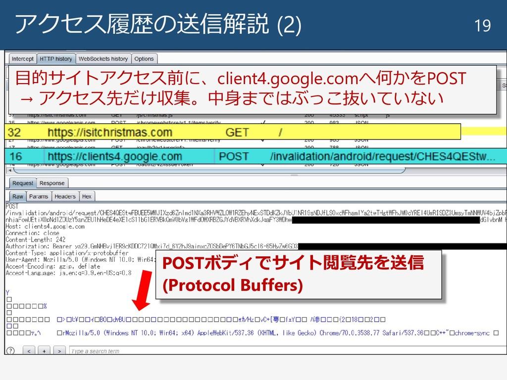 アクセス履歴の送信解説 (2) 19 目的サイトアクセス前に、client4.google.c...