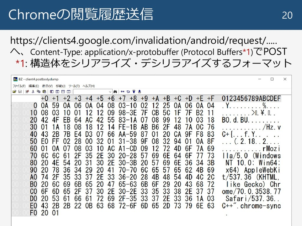 Chromeの閲覧履歴送信 20 https://clients4.google.com/in...