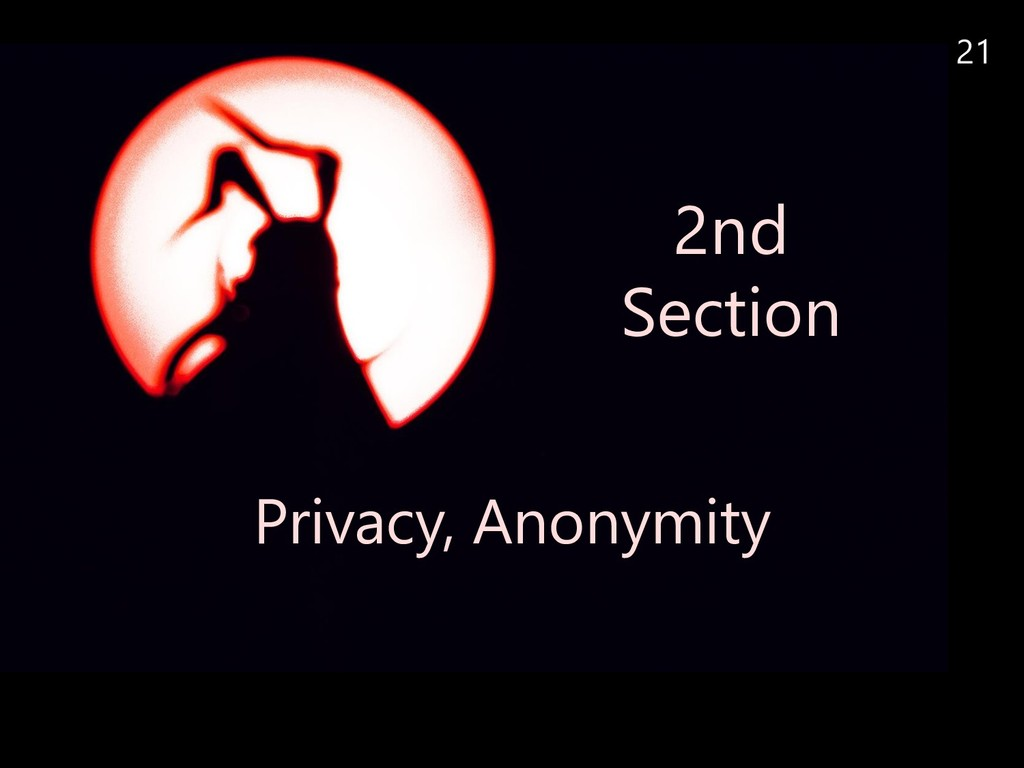 21 2nd Section Privacy, Anonymity