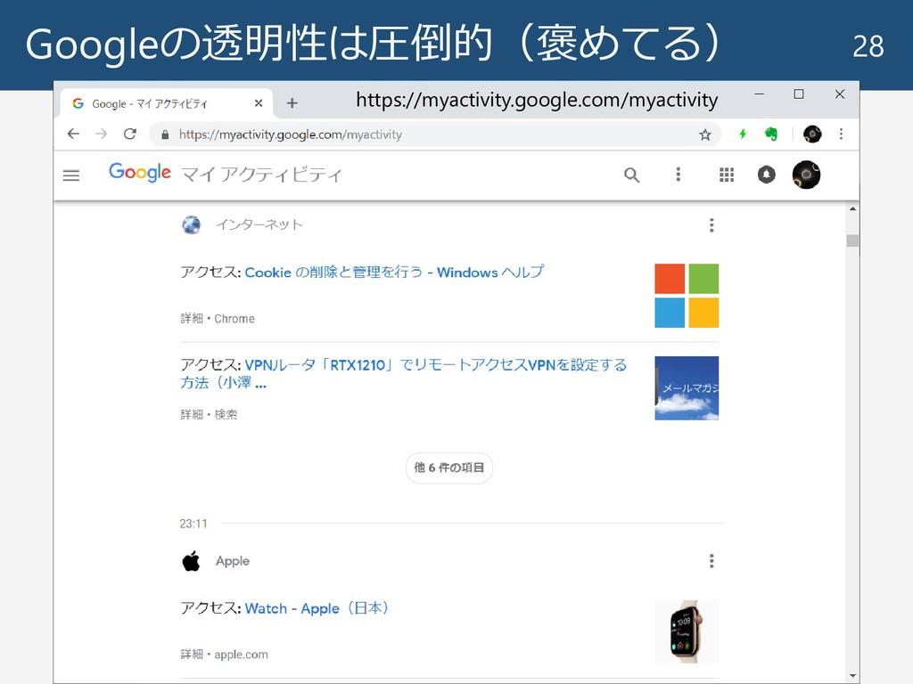 Googleの透明性は圧倒的(褒めてる) 28 https://myactivity.goog...