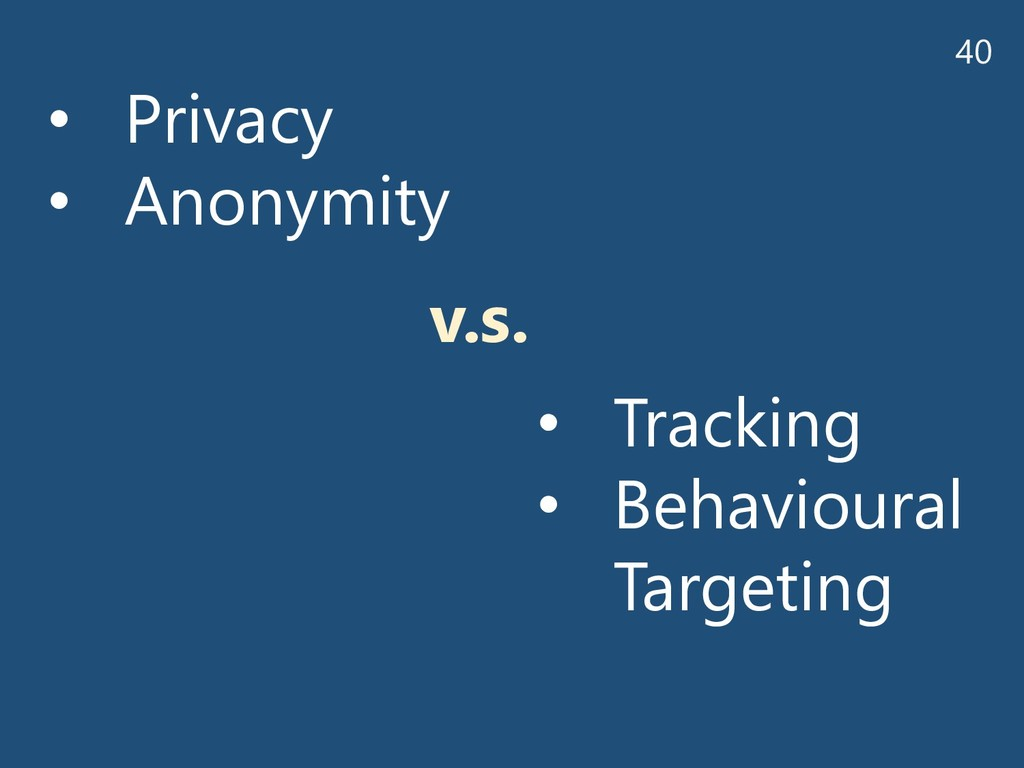40 • Privacy • Anonymity • Tracking • Behaviour...