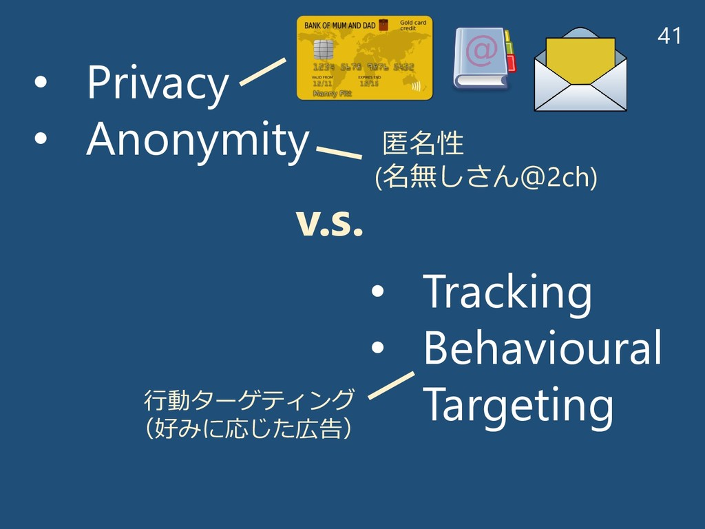 41 • Privacy • Anonymity • Tracking • Behaviour...