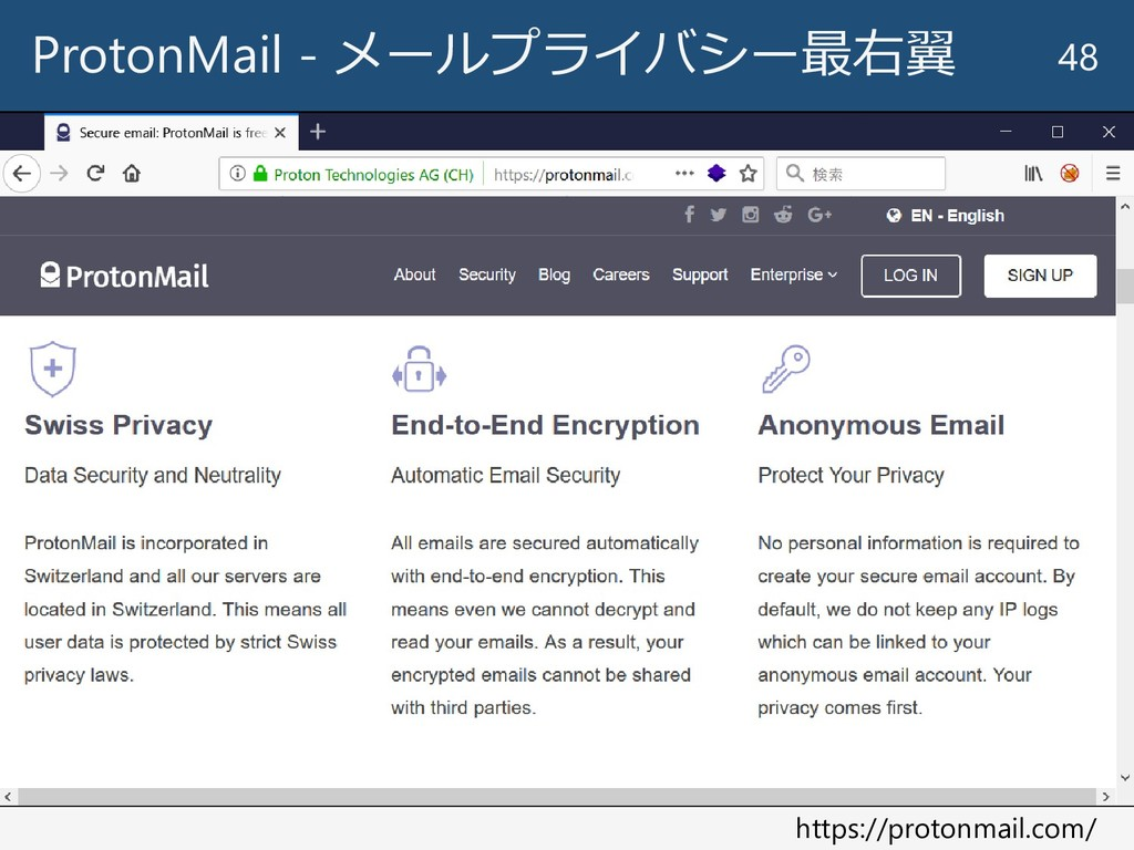 ProtonMail - メールプライバシー最右翼 48 https://protonmail...