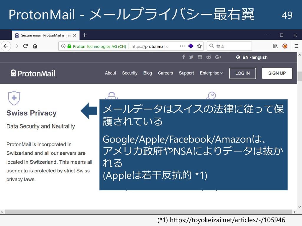 ProtonMail - メールプライバシー最右翼 49 メールデータはスイスの法律に従って保...