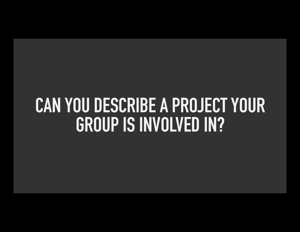 CAN YOU DESCRIBE A PROJECT YOUR GROUP IS INVOLV...