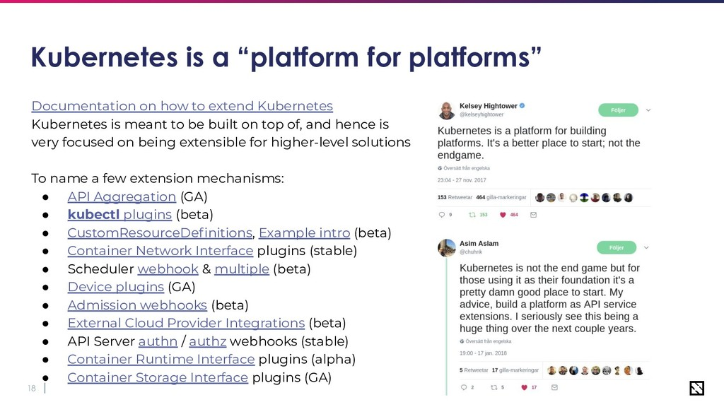 "18 Kubernetes is a ""platform for platforms"" Doc..."