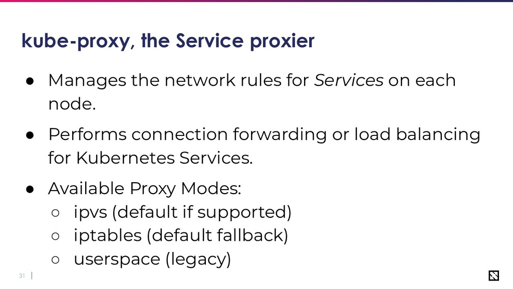 31 kube-proxy, the Service proxier ● Manages th...