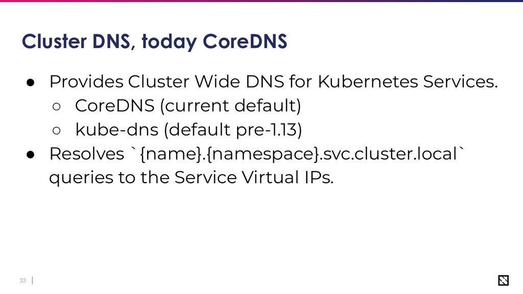 33 Cluster DNS, today CoreDNS ● Provides Cluste...