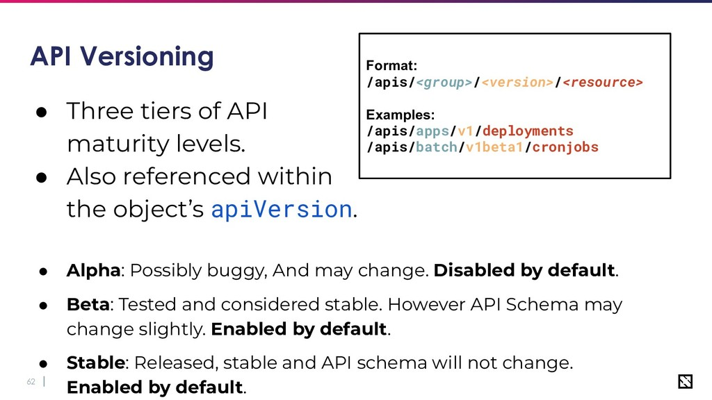 62 API Versioning ● Three tiers of API maturity...