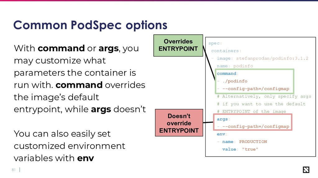 81 Common PodSpec options With command or args,...