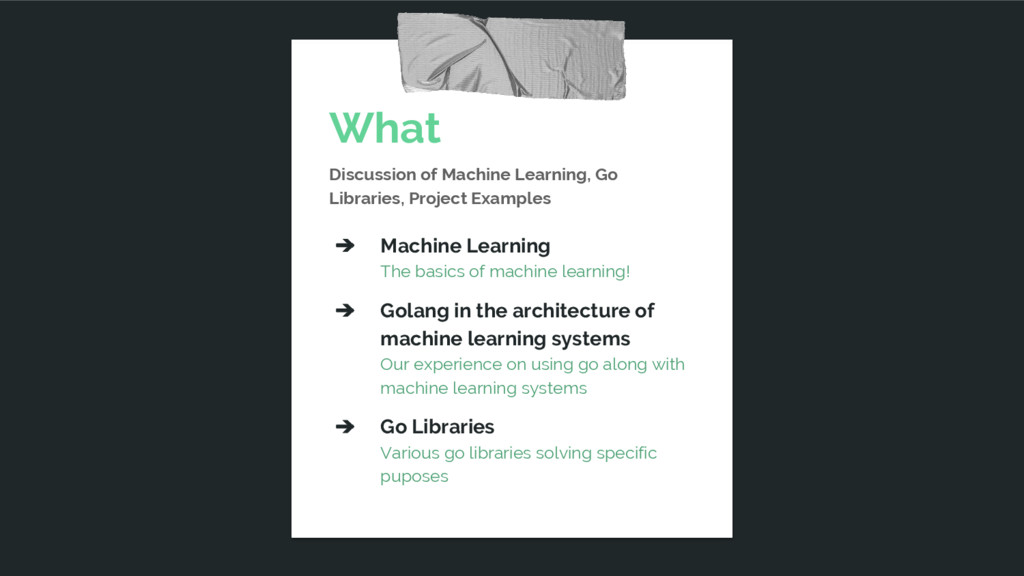 What Discussion of Machine Learning, Go Librari...