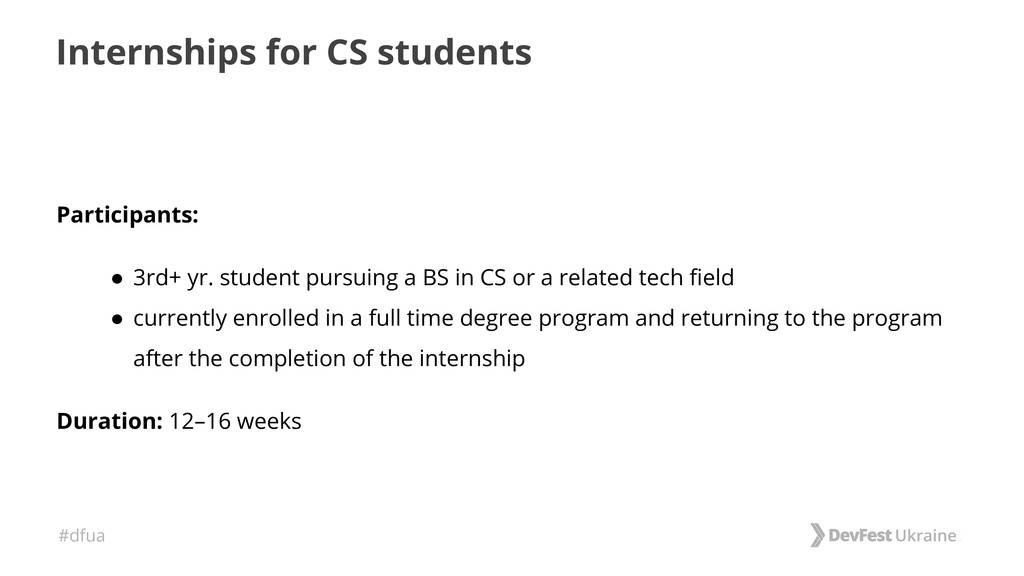 #dfua Internships for CS students Participants:...