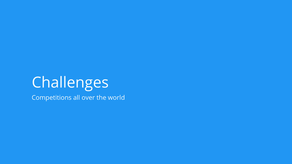 Challenges Competitions all over the world