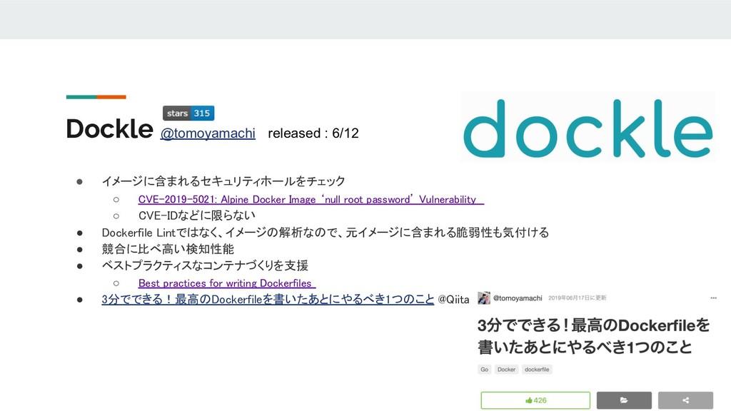 Dockle @tomoyamachi released : 6/12 ● イメージに含まれる...