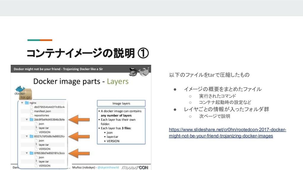 コンテナイメージの説明 ① 以下のファイルをtarで圧縮したもの ● イメージの概要をまとめた...