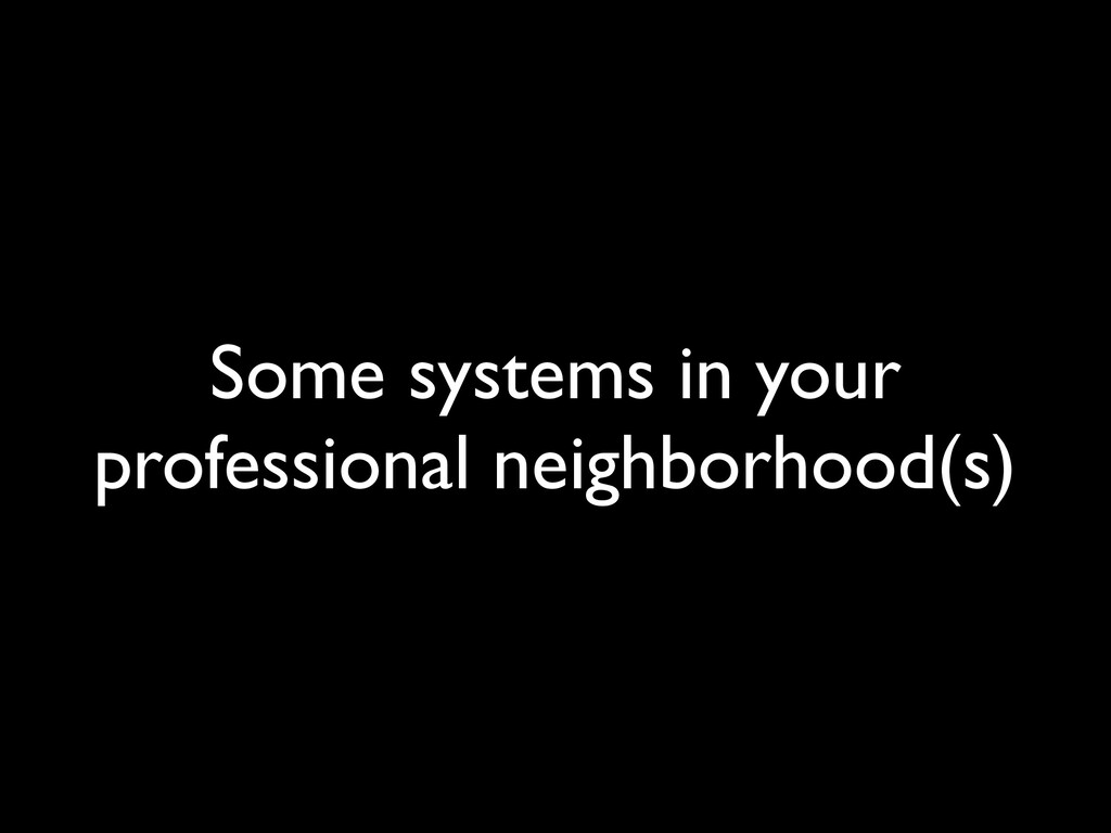 Some systems in your professional neighborhood(...