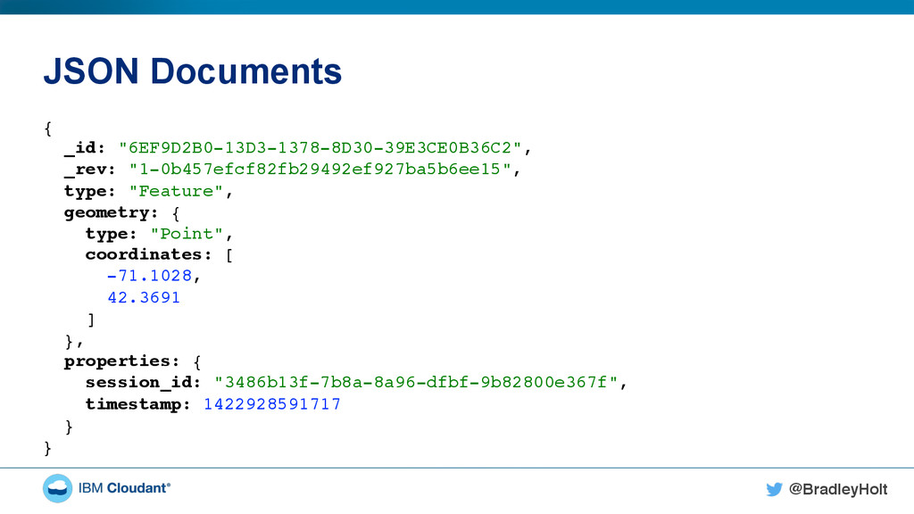 "@BradleyHolt! JSON Documents { _id: ""6EF9D2B0-..."