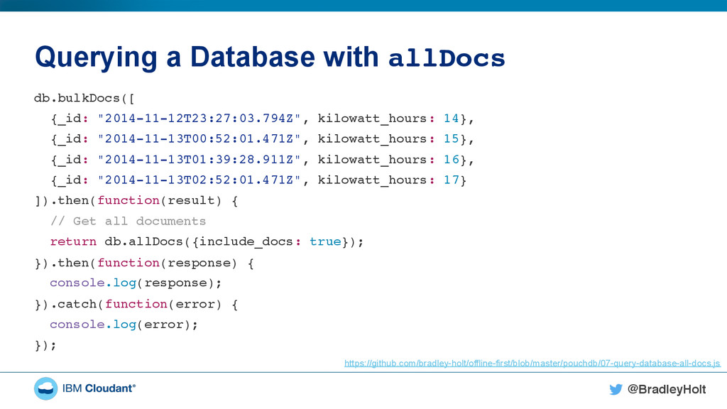 """@BradleyHolt! Querying a Database with allDocs""""..."""