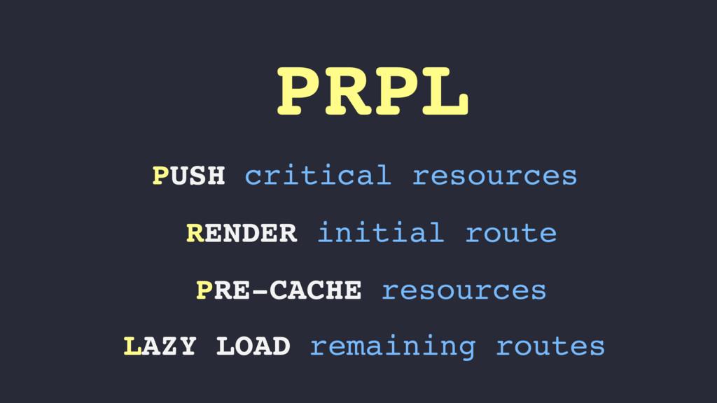 PRPL PUSH critical resources RENDER initial rou...