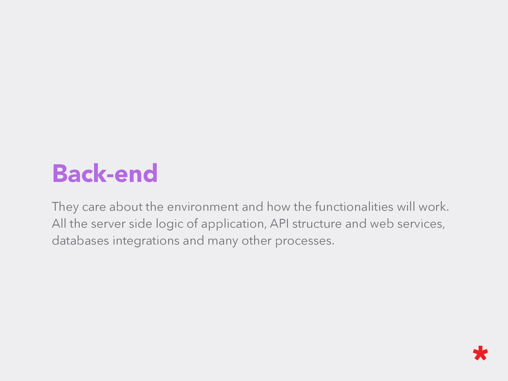 Back-end They care about the environment and ho...
