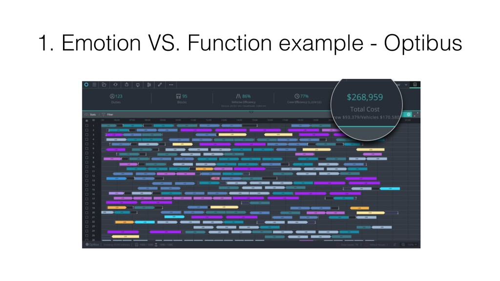 1. Emotion VS. Function example - Optibus