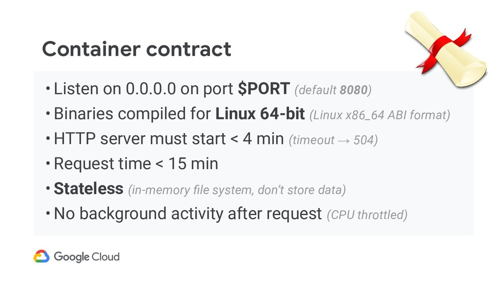 Container contract • Listen on 0.0.0.0 on port ...