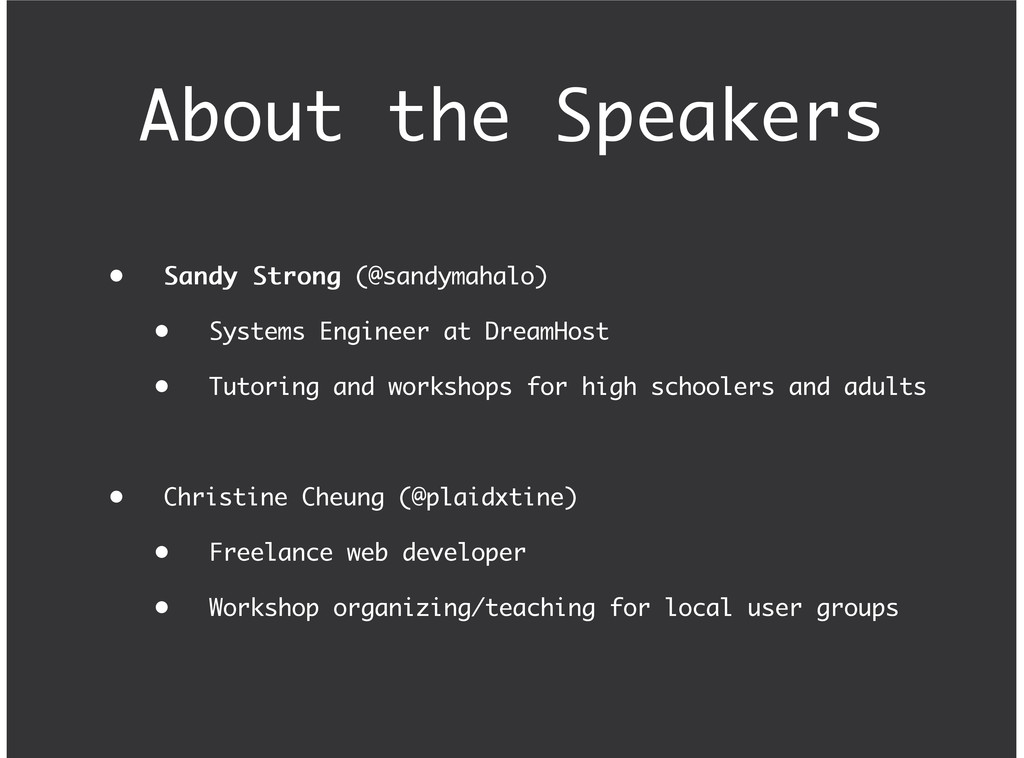 About the Speakers Sandy Strong Sandy Strong (@...