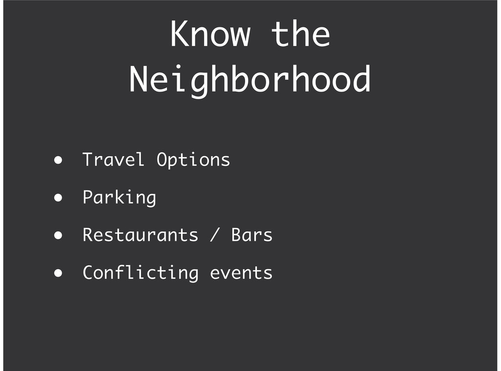 Know the Neighborhood Travel Options Parking Re...