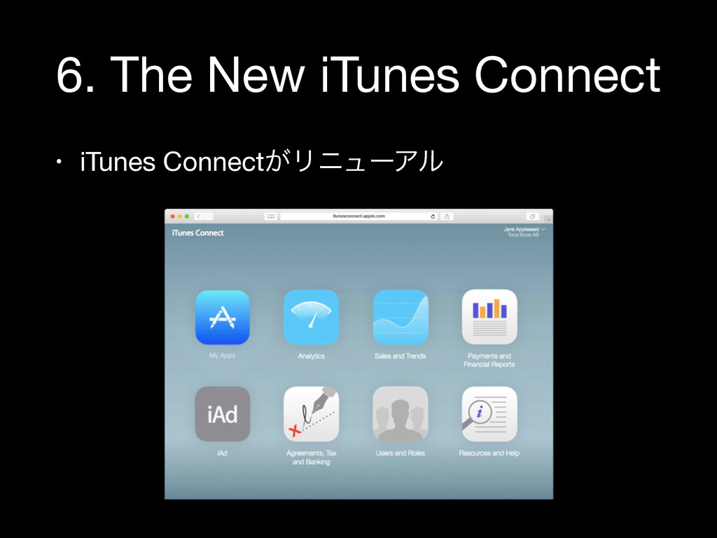 6. The New iTunes Connect • iTunes Connect͕Ϧχϡʔ...