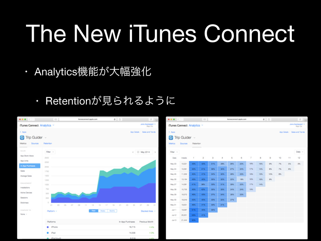 The New iTunes Connect • Analyticsػೳ͕େ෯ڧԽ  • Re...