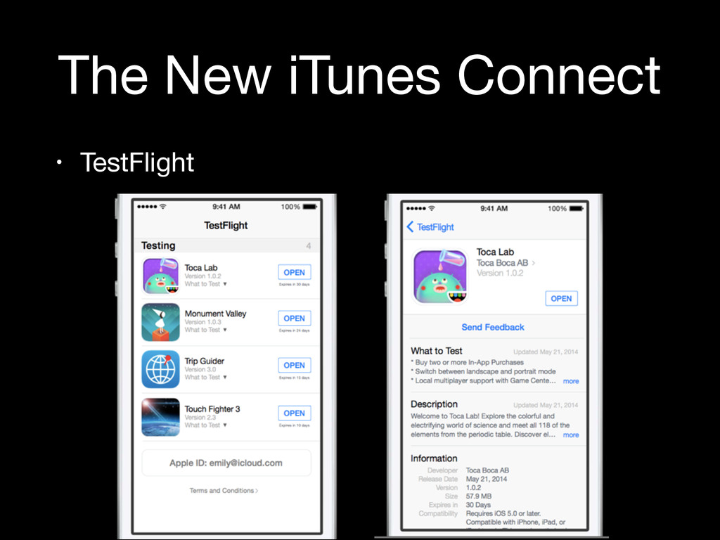 The New iTunes Connect • TestFlight