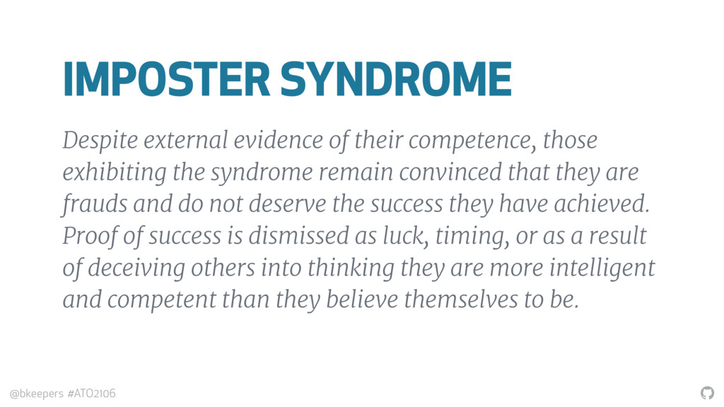 """"""" @bkeepers #ATO2106 IMPOSTER SYNDROME Despite ..."""