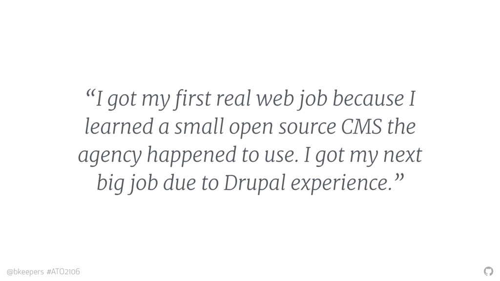 """"""" @bkeepers #ATO2106 """"I got my first real web j..."""