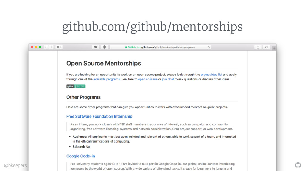 """"""" @bkeepers #ATO2106 github.com/github/mentorsh..."""