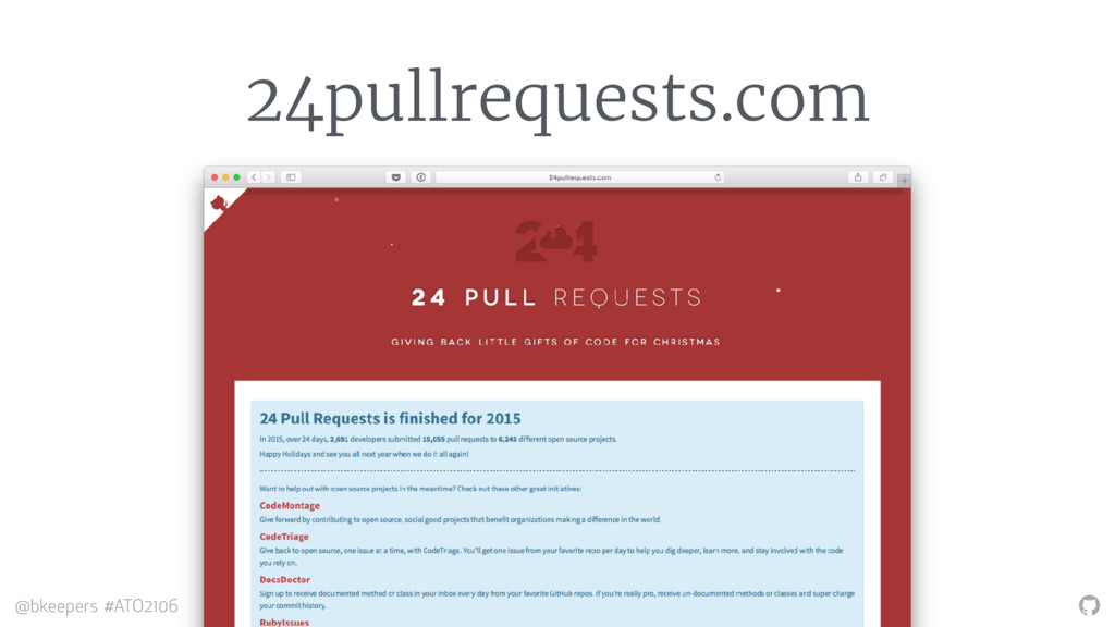 """"""" @bkeepers #ATO2106 24pullrequests.com"""