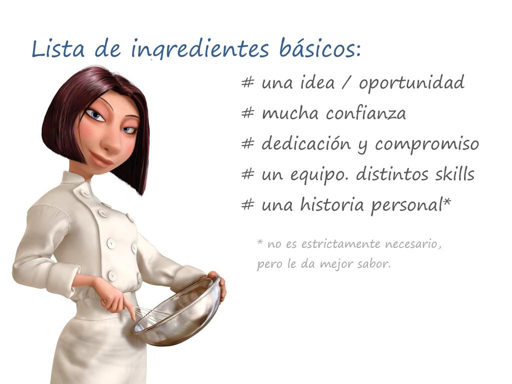 Lista de ingredientes básicos: # una idea / opo...