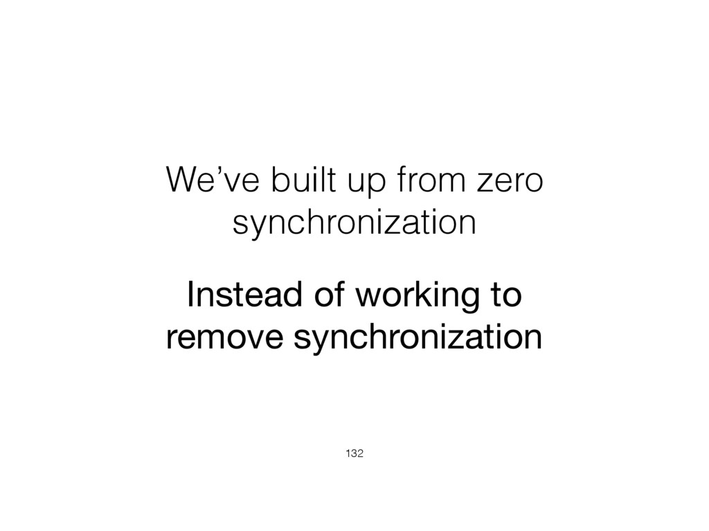 We've built up from zero synchronization 132 In...