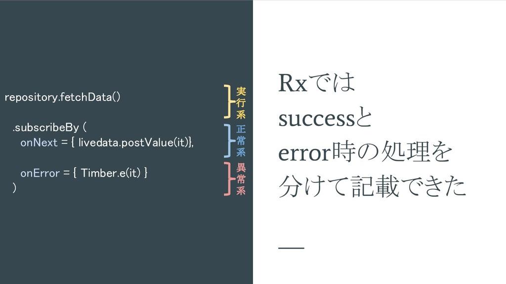 Rx では success と error 時の処理を 分けて記載できた repository...