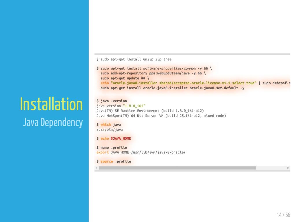 14 / 56 Installation Java Dependency $ sudo apt...