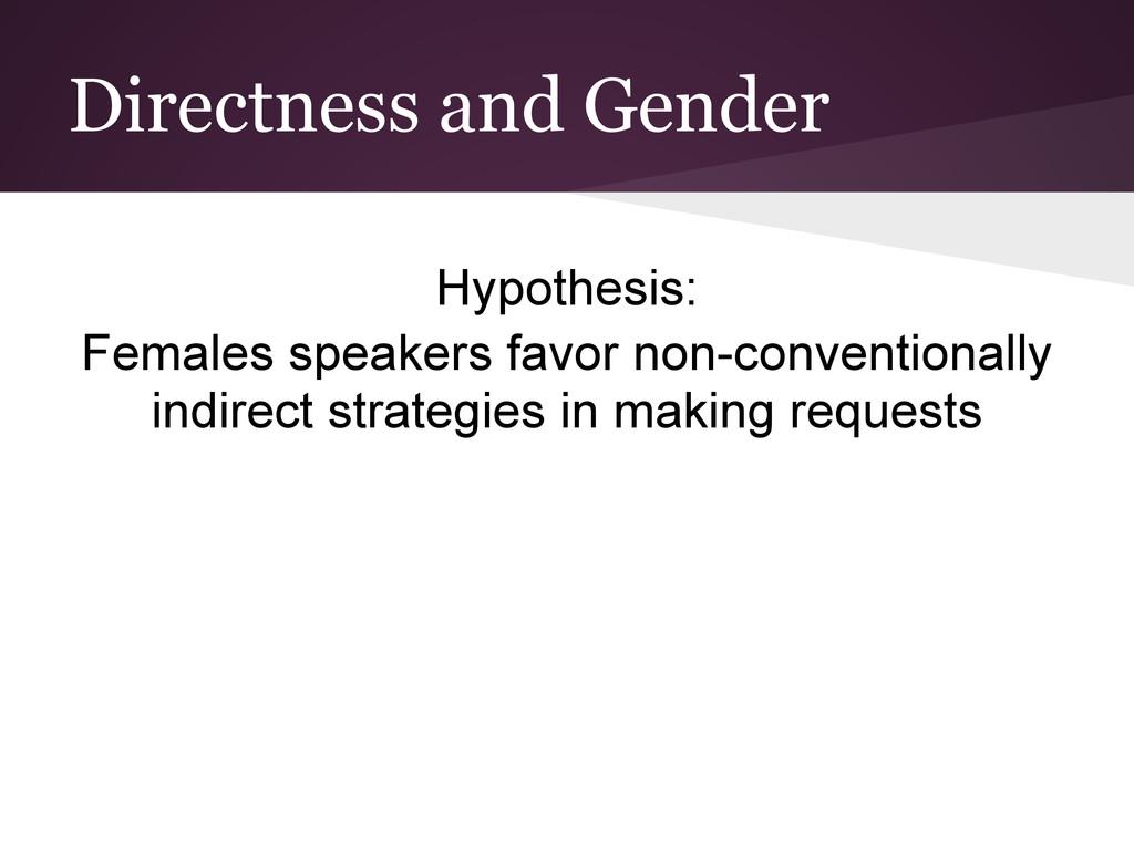 Directness and Gender Hypothesis: Females speak...
