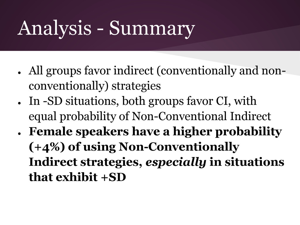 Analysis - Summary ● All groups favor indirect ...