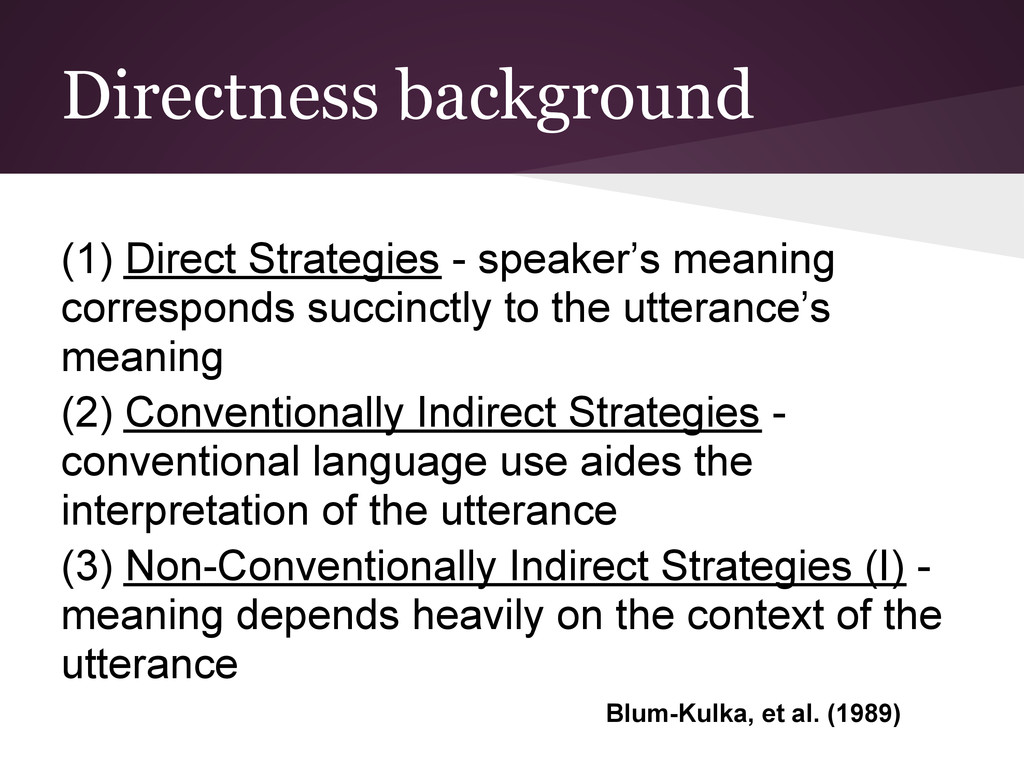 Directness background (1) Direct Strategies - s...