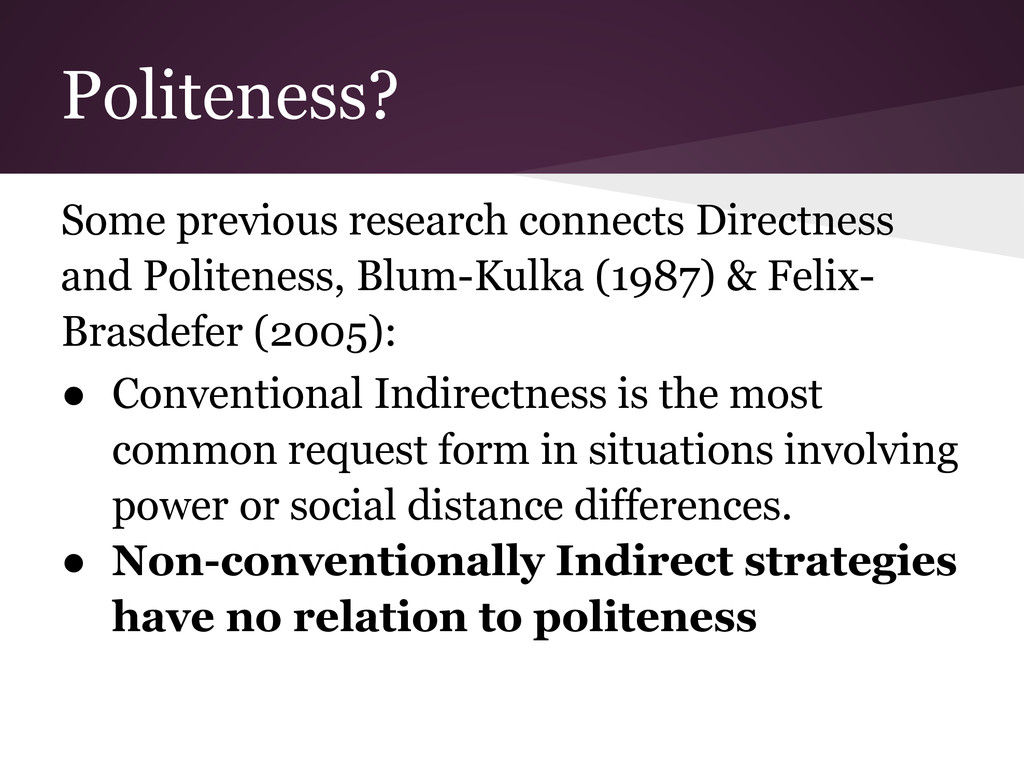 Politeness? Some previous research connects Dir...