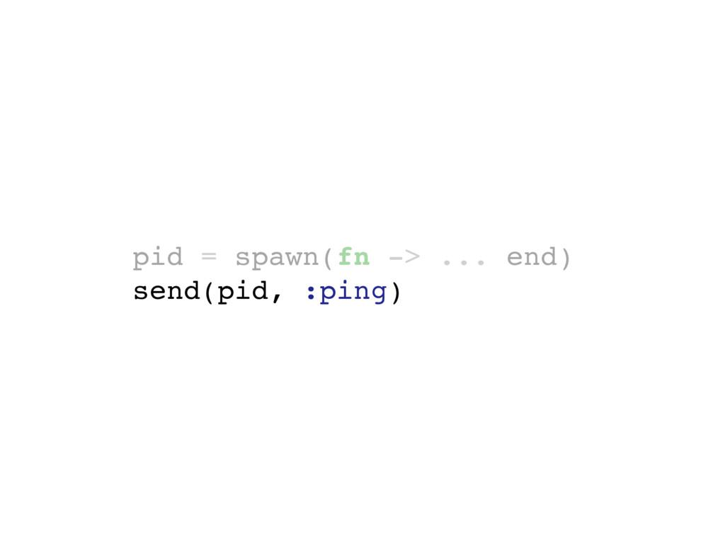 pid = spawn(fn -> ... end) send(pid, :ping)
