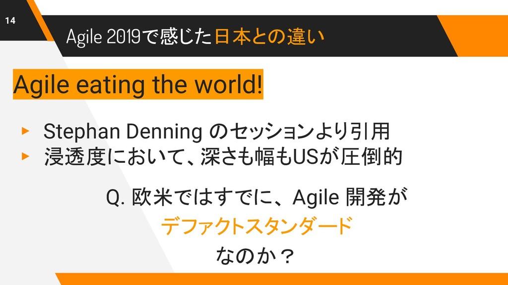 Agile 2019で感じた日本との違い 14 ▸ Stephan Denning のセッショ...