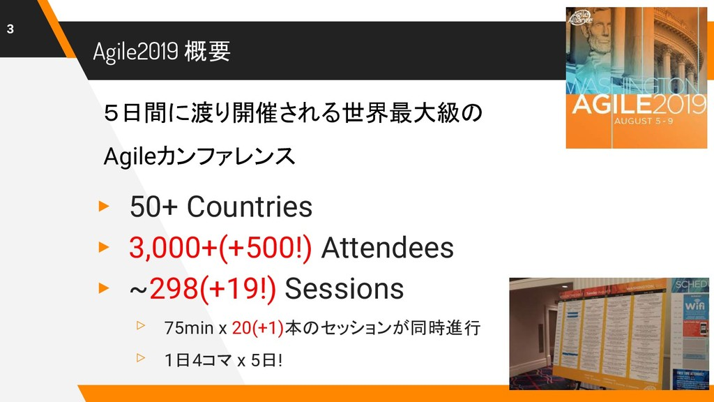 Agile2019 概要 ▸ 50+ Countries ▸ 3,000+(+500!) At...