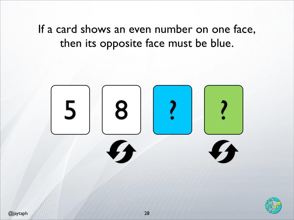 @jaytaph 28 5 8 ? ? If a card shows an even num...