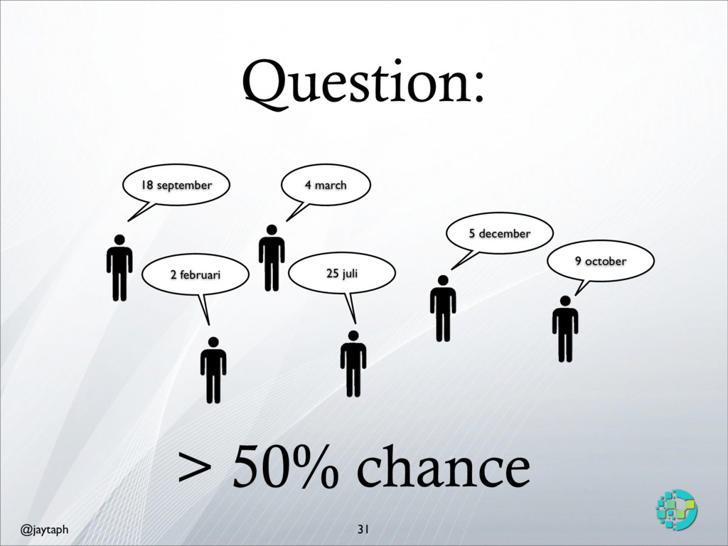 @jaytaph Question: 31 > 50% chance 4 march 18 s...