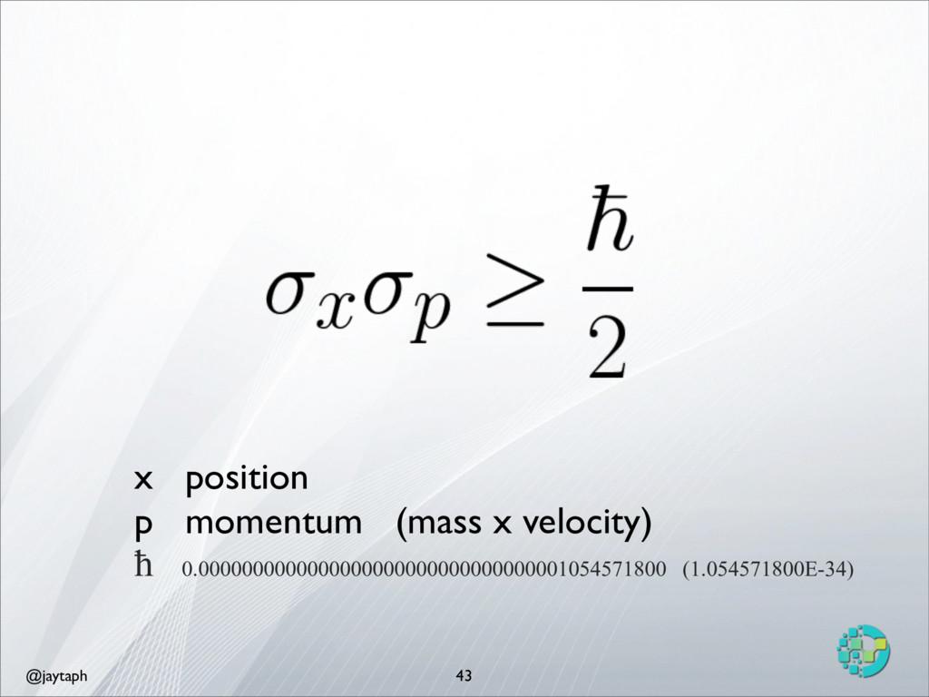 @jaytaph 43 x position p momentum (mass x veloc...